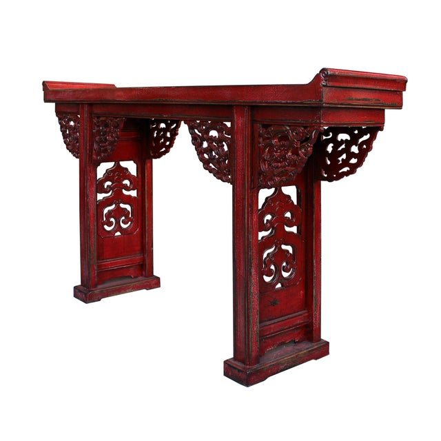 Asian Chinese Distressed Red Lacquer Dragon Motif Apron Altar Console Table For Sale - Image 3 of 7