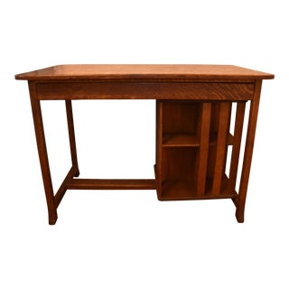 Arts & Crafts Oak Library Desk With Revolving Bookcase Bookshelf For Sale