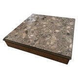 Image of Modern Architectural Rare Brown Terrazzo Marble, Bronze and Wood Coffee Table For Sale