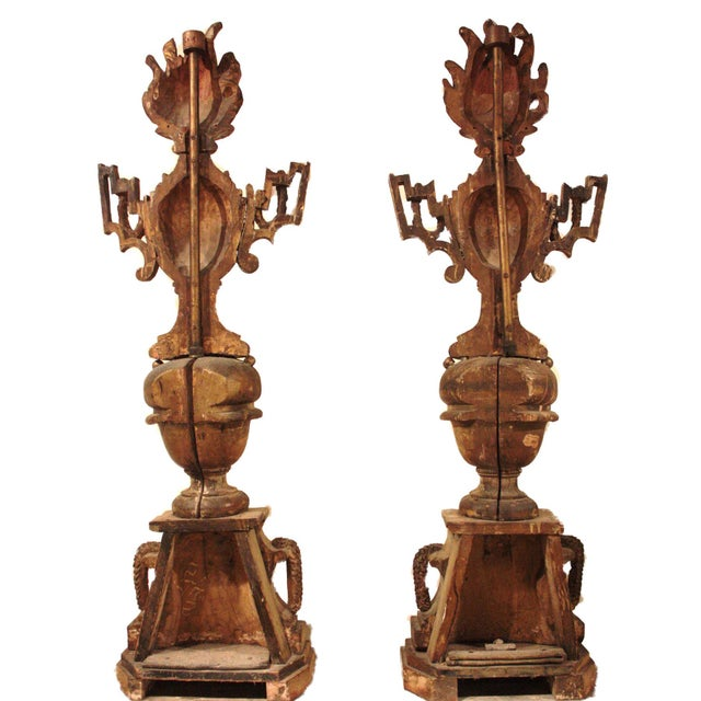 Italian 18th Century Italian Polychrome Wood Carvings of Flaming Urns on Faux Marble Pedestals For Sale - Image 3 of 7