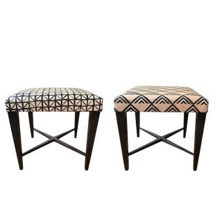 Modern Benches Pull Over Upholstered Top Stools- A Pair For Sale