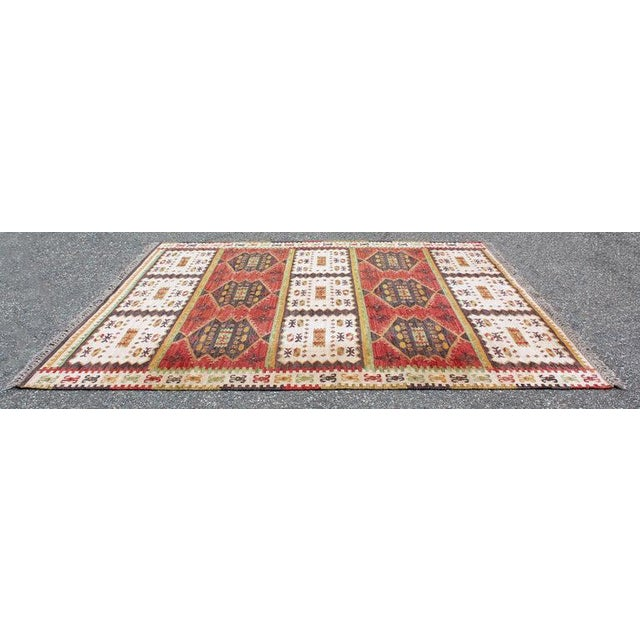 For your consideration is a gorgeous, Danish, rectangular area rug or carpet, with a red, green and yellow pattern, circa...