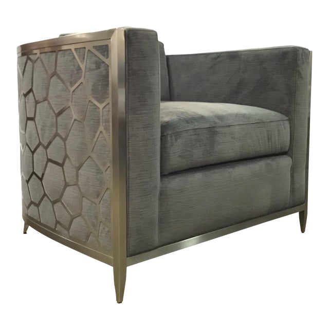 Caracole Modern Charcoal Velvet Ice Breaker Club Chair For Sale