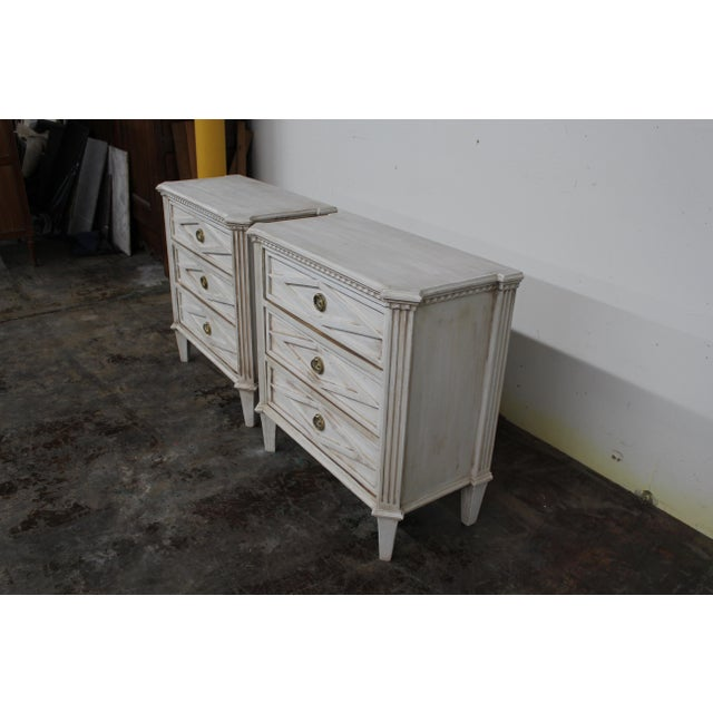 Mid-Century Modern 20th Century Vintage Swedish Gustavian Style Nightstands - a Pair For Sale - Image 3 of 10