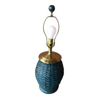 1970s Palm Beach Regency Wicker Lamp For Sale