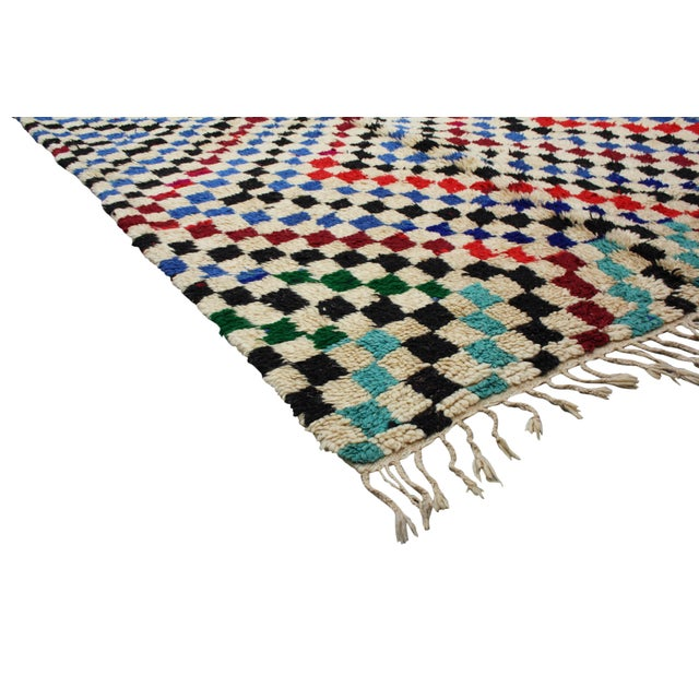 One-of-a-kind, hand-knotted Moroccan rug in soft organic wool. Exhibiting an intricate display of diamond pattern....
