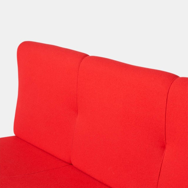 1950s Marco zanuso sofa in cherry red wool For Sale - Image 5 of 7