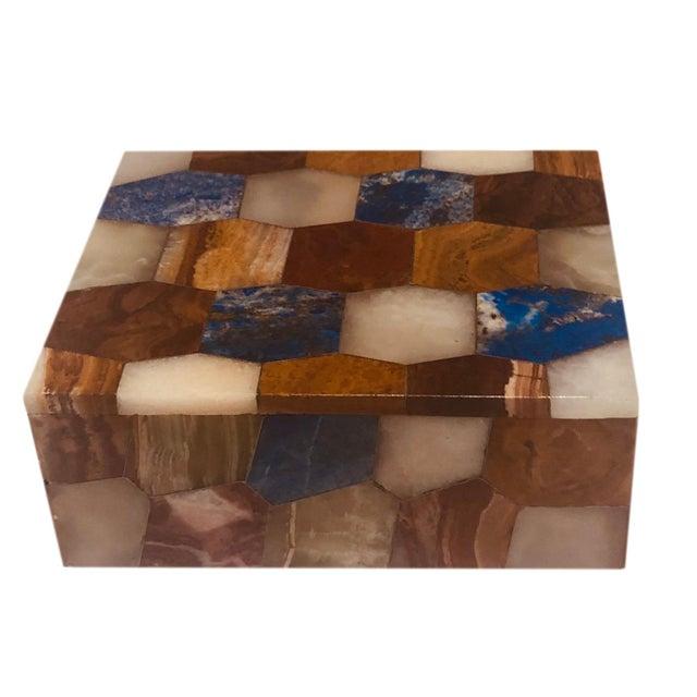 White Antique Russian Hexagonal Precious Stones Box For Sale - Image 8 of 8