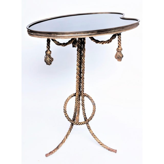 Gilded Rope & Black Glass Side Table For Sale - Image 12 of 12