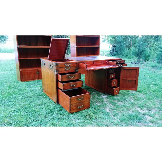 Traditional Starbay Rosewood Richelieu Leather Top Executive Desk For Sale - Image 6 of 13