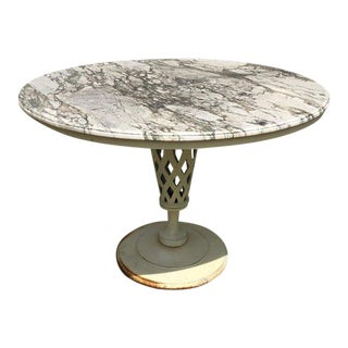 1960s Carrera Marble-Topped Iron Patio Table For Sale