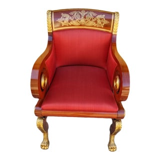 Kindel Furniture Company Mahogany Inlaid Gold Gilded Paw Foot Scroll Arms New York Empire Red Silk Upholstered Lounge Chair For Sale