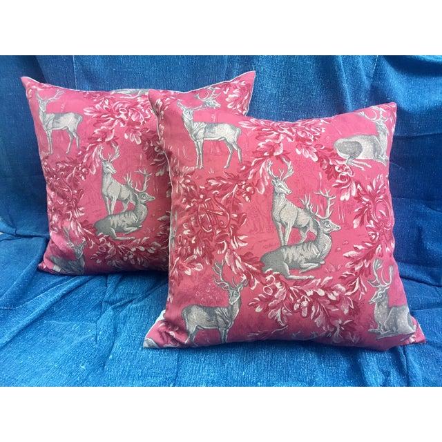 Vintage F. Schumacher Woburn Meadow Deer Pillows - A Pair - Image 8 of 10