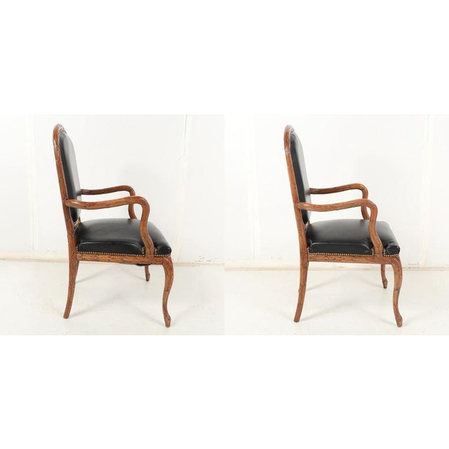 Mid 20th Century Vintage Mid Century Hand-Carved Italian Carved Wood Leather Bound Armchairs- A Pair For Sale - Image 5 of 13
