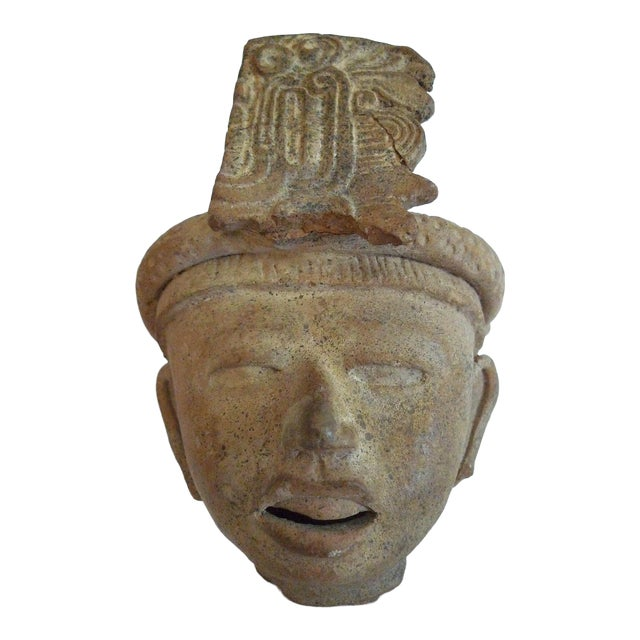 Mayan Pre-Columbian Feathered Headdress Bust, 5th to 7th Century Ce For Sale