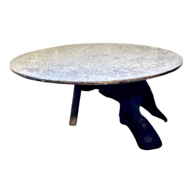 Organic Modern Tripod Driftwood and Terrazzo Concrete Accent Table For Sale