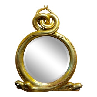 Vintage Regency Serpent Mirror -Fabulous Giltwood Twin Snake For Sale