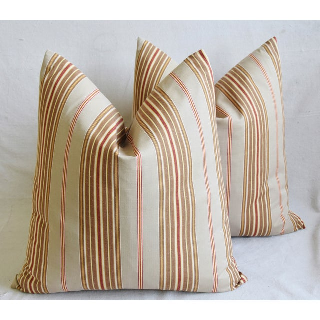 "French Striped Ticking Feather/Down Pillows 23"" Square - Pair For Sale - Image 12 of 12"