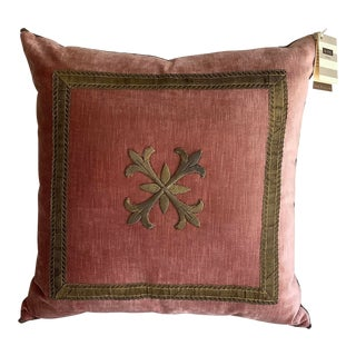 Antique B.Viz Designs Ottoman Empire Gold Metallic Embroidery on Pink Velvet Pillow For Sale