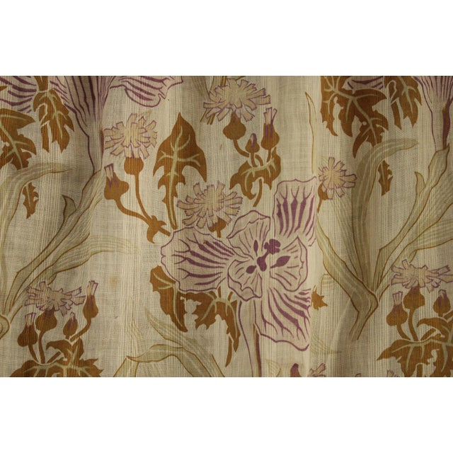 Antique French Art Nouveau Light Weight Cotton Roller Print Floral Sheer Fabric For Sale - Image 4 of 12
