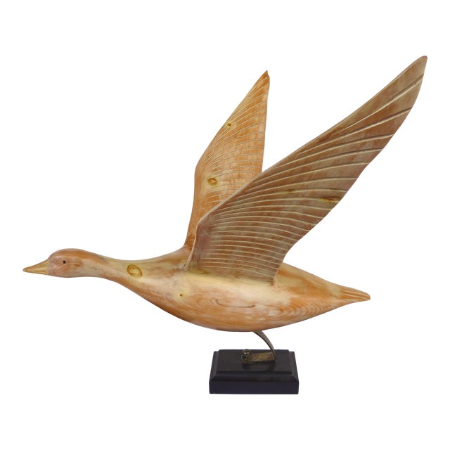 Vintage Life-Size Carved Wood Duck /Goose Sculpture in Flight For Sale