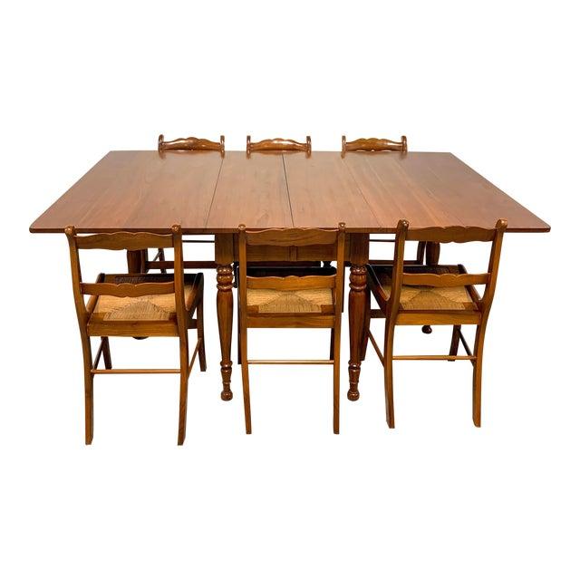 1950s Amana Furniture Walnut Drop Leaf Dining Set - 7 Pieces For Sale