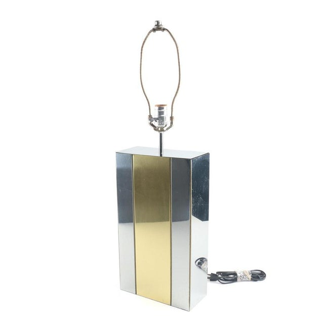 Vintage Authentic Robert Sonneman Chrome and Brass Table Lamp For Sale In Providence - Image 6 of 6