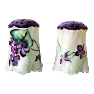 Victorian Porcelain Hand Painted Hatpin Holders or Shakers - a Pair For Sale