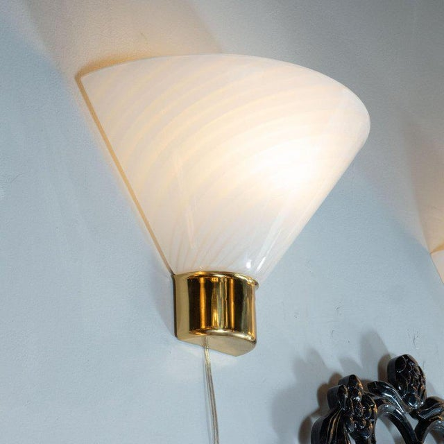 Brass Mid-Century Handblown Striated Murano Glass and Brass Sconces by Fabbian - a Pair For Sale - Image 7 of 8