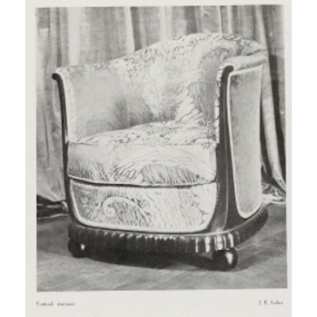 Art Deco Jules Leleu Stamped Rarest Pair of Early Art Deco Chairs Newly Covered in Mohair For Sale - Image 3 of 8
