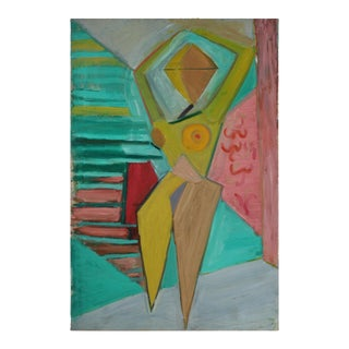 Abstracted Cubist Figure in Oil, Circa Late 1950s For Sale