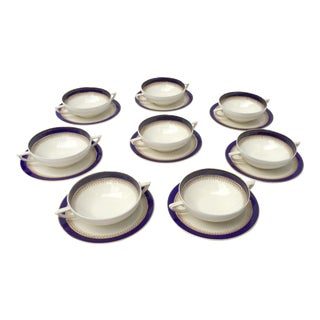 Traditional English Bouillon Cups S/8 | Cobalt Blue and Gold Rimmed Soup Bowls With Double Handles and Matching Saucers - S/8 For Sale