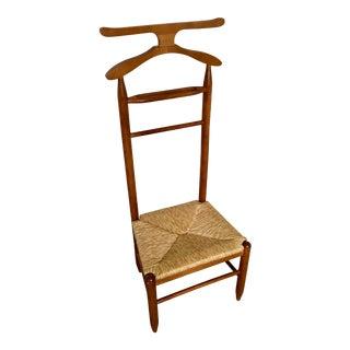 Mid-Century Danish Modern Teak & Rush Valet Chair For Sale