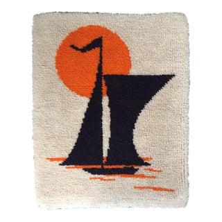 Vintage Sailboat Latch Hook Wall Art