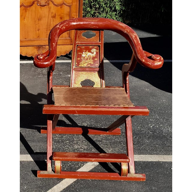 Antique Chinese Red Folding Merchant Chair Chairish