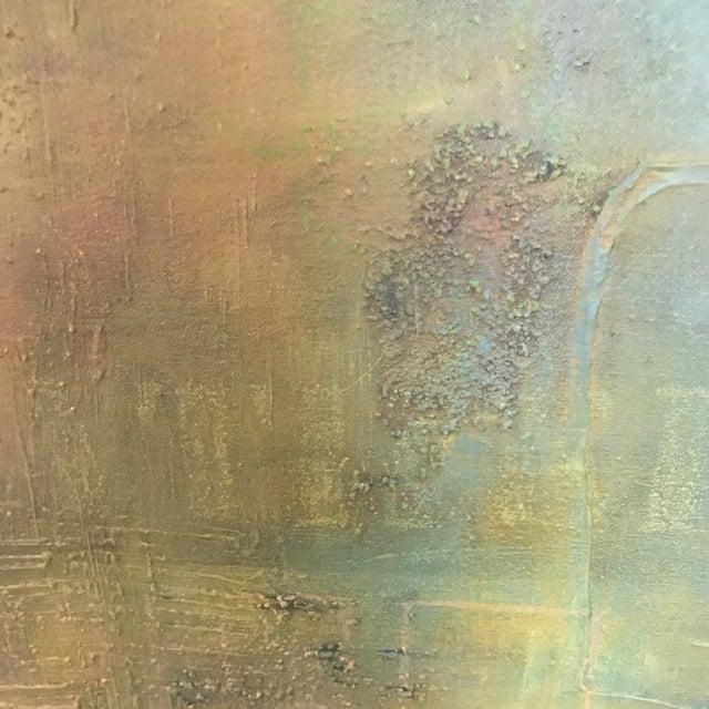 Abstract Aqua Textural Painting - Image 3 of 6