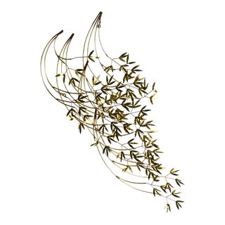 Curtis Jere Signed Brass Bamboo Leaf Wall Sculpture For Sale