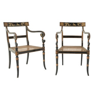 Vintage Mid-Century Pierre Lottier Cane Chairs- A Pair For Sale