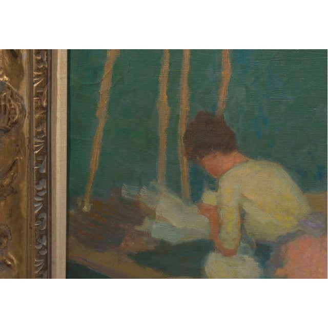 """1950s Vintage """"Washerwomen in Brittany"""" Roy Gamble Oil Painting For Sale In Nashville - Image 6 of 7"""