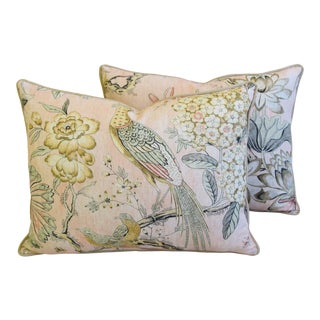 "Ann French Thibaut Floral & Pheasant Linen Feather/Down Pillows 24"" X 18"" Pair For Sale"