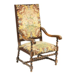 Antique Louis XIII Needlepoint French Walnut Spool Chair For Sale