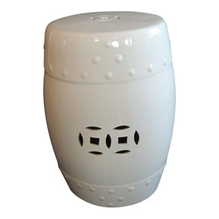 White Glazed Round Asian Export Ceramic Garden Stool For Sale