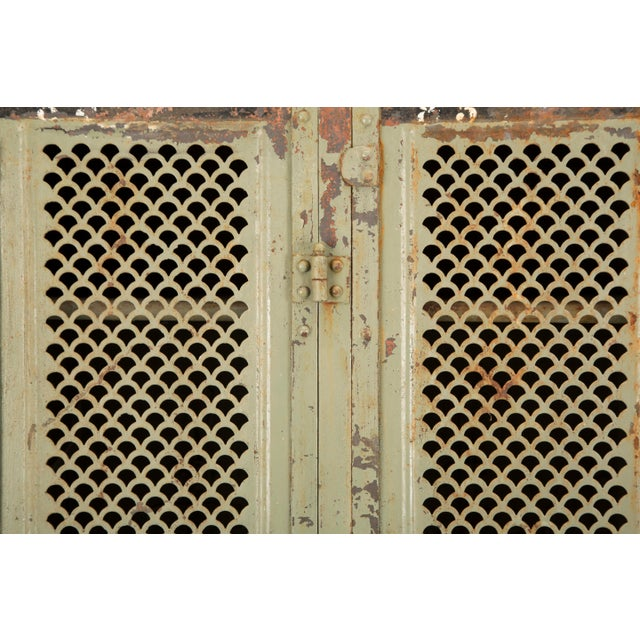 Antique French Industrial Original Painted Lockers For Sale - Image 9 of 12