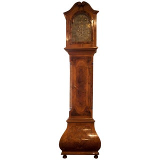 German Baroque Style Inlaid Walnut Tall Case Clock, 19th Century For Sale