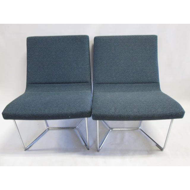 Textile Harter Forum Seat Lounge Chairs - A Pair For Sale - Image 7 of 7