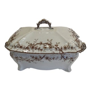 Brown Transfer Ware Lidded Soup Tureen For Sale