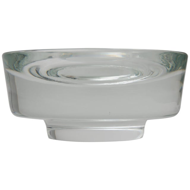 Glass Karl Springer Signed for Venini Clear Murano Glass Dish Bowl For Sale - Image 7 of 7