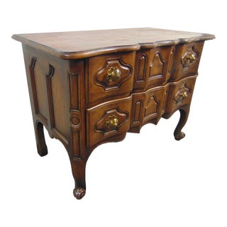 Baker Louis XV Style Walnut Serpentine Commode For Sale