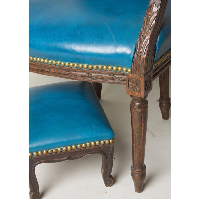 Belgian Early 20th Century Vintage Fauteuil in Blue Leather Chair & Footstool For Sale - Image 3 of 8