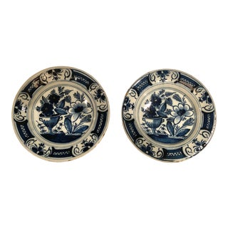 18th Century Matching Delft Plates- a Pair For Sale
